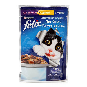 Корм полнорационный для взрослых кошек, с ягнёнком и курицей в желе Двойная вкуснятина ТМ Felix (Феликс)