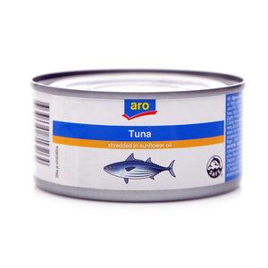 Полосатый тунец кусочки в подсолнечном масле консервированный ТМ Aro (Аро)