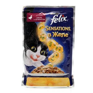 Корм полнорационный для взрослых кошек Sensation(Сенсейшен), с уткой в желе со шпинатом ТМ Felix (Феликс)