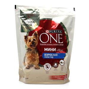 Корм для взрослых собак мелких пород старше 1 года с высоким содержанием говядины и с рисом ТМ Purina One (Пурина Уан)