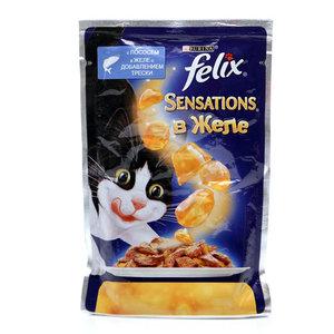 Корм полнорационный для взрослых кошек Sensations (Сенсейшен) , с лососем в желе с добавлением трески ТМ Felix  (Феликс)