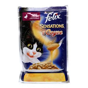 Корм для кошек Sensations (Сенсейшен) с уткой в соусе с морковью ТМ Felix (Феликс)