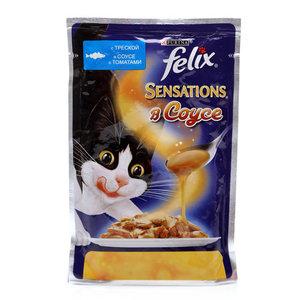 Корм для кошек Sensation(Сенсейшен) с треской в соусе с томатами ТМ  Felix (Феликс)