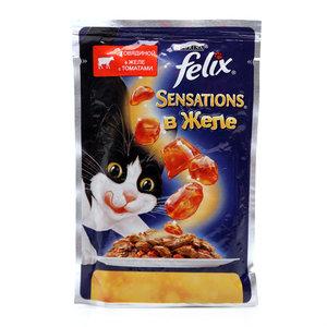 Корм полнорационный для взрослых кошек Sensations (Сенсейшен), с говядиной в желе с томатами ТМ Felix (Феликс)