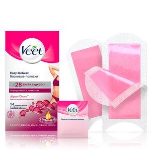 Восковые полоски для чувствительных участков тела Бархатная роза и эфирные масл TM Veet (Вит)