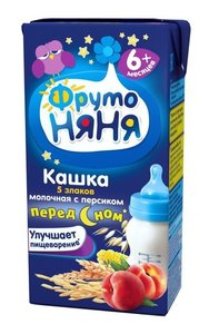 Кашка Перед сном 5 злаков молочная с персиком для детей с 6-ти месяцев ТМ Фруто Няня