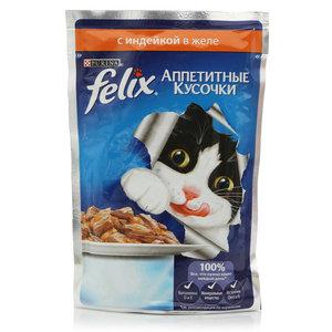 Корм полнорационный для взрослых кошек Аппетитные кусочки с индейкой в желе ТМ Felix (Феликс)