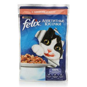 Корм полнорационный для взрослых кошек, аппетитные кусочки в желе с лососем ТМ Felix (Феликс)