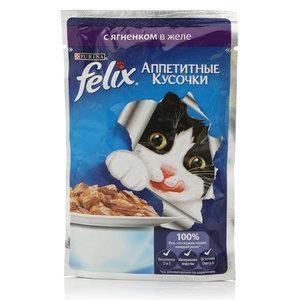 Корм полнорационный для взрослых кошек, с ягненком в желе ТМ Felix (Феликс)